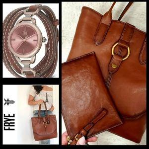 3pc Frye Leather Tote, Wristlet & Watch Set